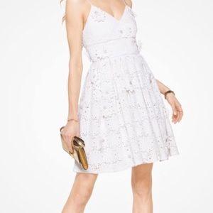 Michael Kors White Floral Appliqué lace dress